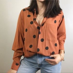 Vintage Rust Colored Polka Dot Button Front Shirt
